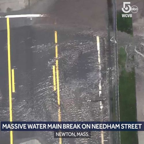 Massive water main break closes busy Newton street