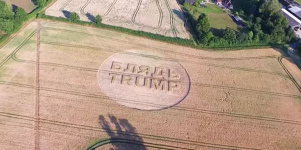 Artist carves 'F--Trump' into crop circle in Trump's reported UK flight path