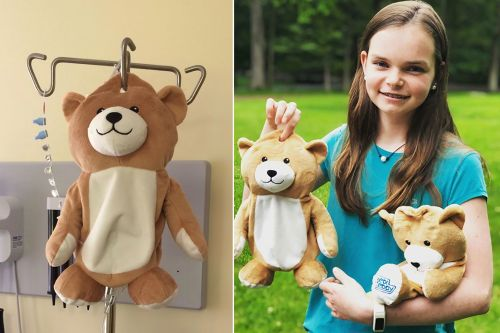 Girl, 12, with rare disorder creates teddy bears that hide IV bags
