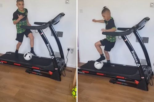 11-year-old soccer prodigy dribbles on a treadmill