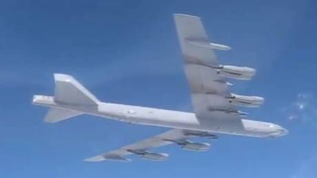 WATCH Su-27 fighter jets shadow US NUCLEAR-CAPABLE B-52H bomber near Russian border
