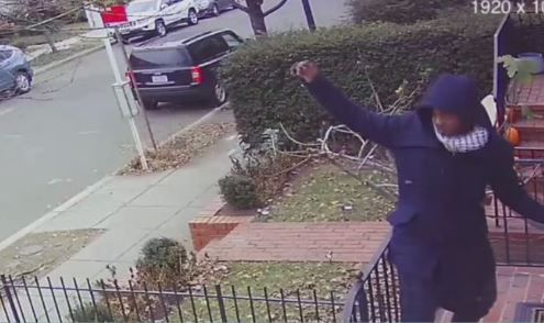Holiday porch pirate busts a move in front of surveillance camera before taking item