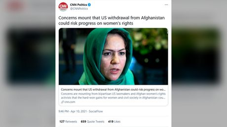 'Woke imperialism strikes again': CNN faces backlash after it defends keeping US troops in Afghanistan by citing women's rights