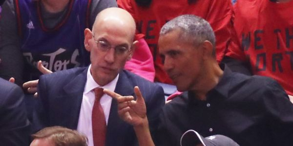 Obama attended Game 2 of the NBA Finals with commissioner Adam Silver and shared a moment with Drake before the game