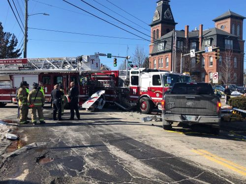 Two fire trucks, pickup truck involved in crash in Manchester