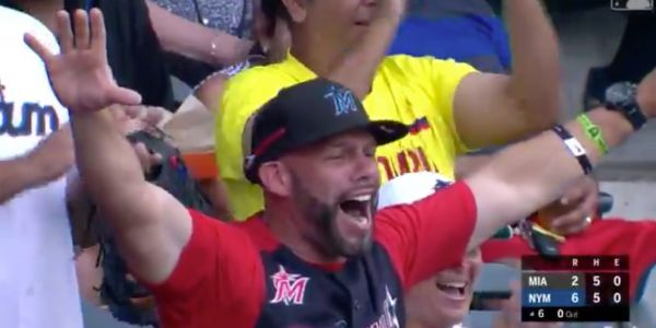 The father of a Marlins rookie went bonkers in the middle of an interview after his son hit his first career home run