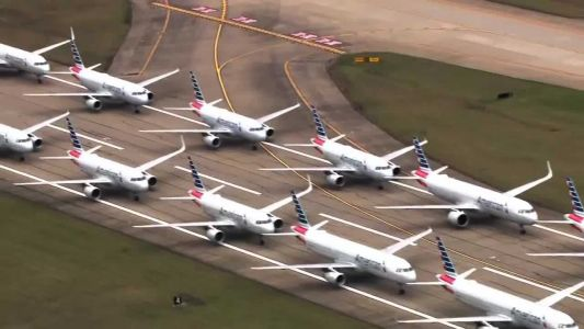 RAW VIDEO: Pittsburgh airport used as parking lot for dozens of unused planes