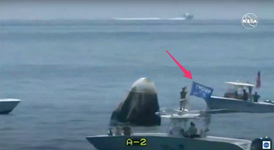 A boat flying a Trump flag got too close to SpaceX's spaceship after the astronauts landed. NASA promised to 'do a better job' next time