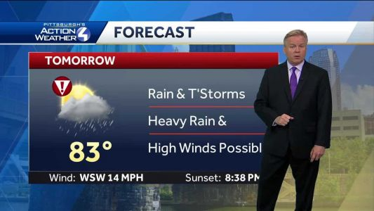 Alert Day Thursday: Potential for severe thunderstorms, high winds in Pittsburgh area
