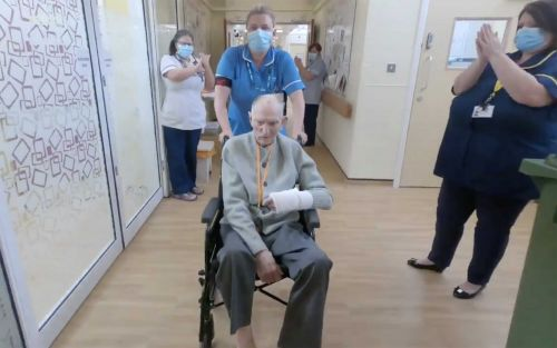 99-year-old World War II veteran who survived coronavirus gets guard of honor from nurses