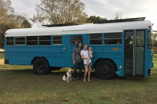 This family sold their home to live in a sustainable school bus