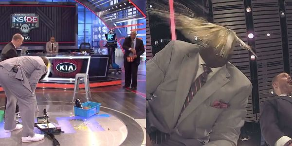 The 'Inside the NBA' crew tried a viral Tik Tok challenge, and Charles Barkley whipped Shaq with an egg