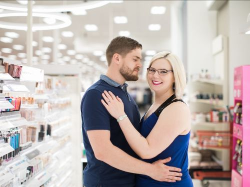 These couples took engagement photos in their favorite stores, and fluorescent lighting has never looked more romantic