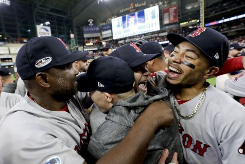 See the Red Sox celebrate winning the AL pennant
