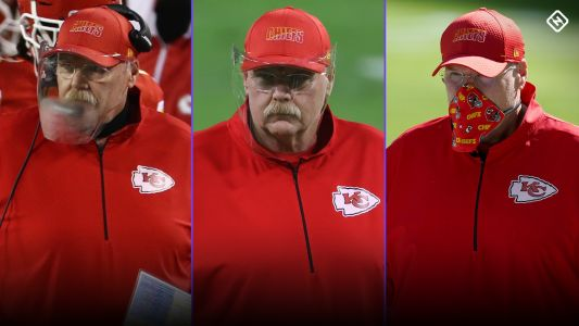 The evolution of Andy Reid's face mask, from foggy shield to Chiefs-patterned cloth