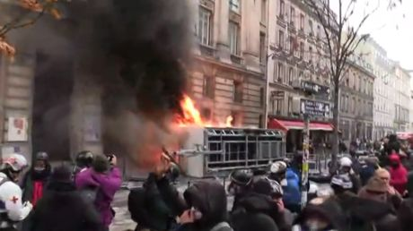 Bikes ablaze & cameras crippled: Damage wreaked on Parisian streets amid huge protests in France