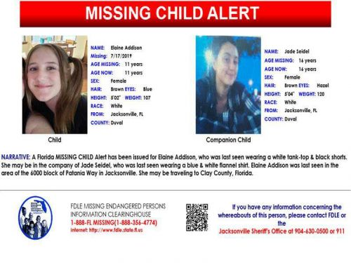 FDLE: Missing child alert issued for 11-year-old last seen in Jacksonville