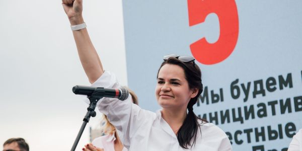 The Belarus opposition leader reappeared in neighboring Lithuania after challenging its election result. Reports say she left as a deal to get her chief of staff out of jail