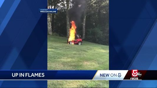 Electric car for children unexpectedly bursts into flames