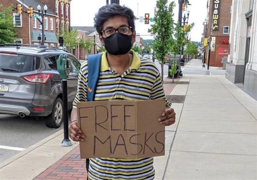 He gives away masks to IUP students, protesters and others