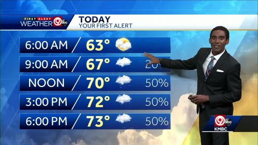 First Alert: Mild temperatures, few storms possible Thursday