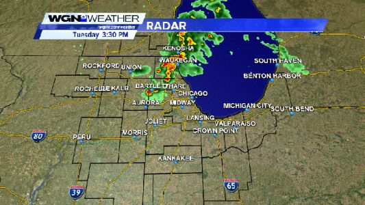 Strong thunderstorms moving across parts of extreme NE Illinois