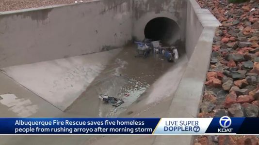 5 homeless people rescued from rushing arroyo waters