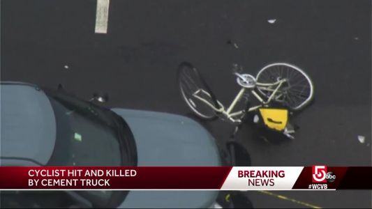 Bicyclist who was hit by cement truck has died, state police say