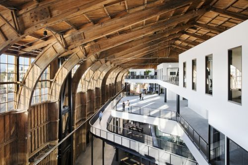 Google restored a World War II-era wooden airplane hangar and turned it into a huge new LA office - take a look inside