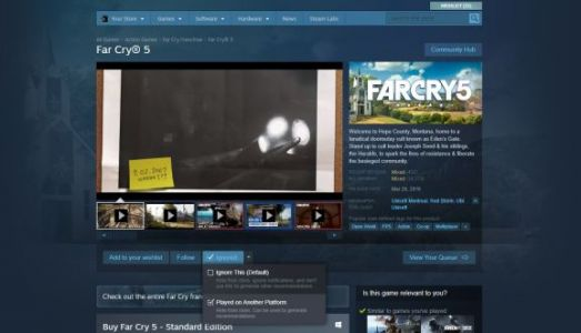 You can now tell Steam you already played a game on another store