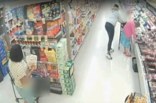 Suspects caught on camera stealing elderly woman's wallet in grocery store
