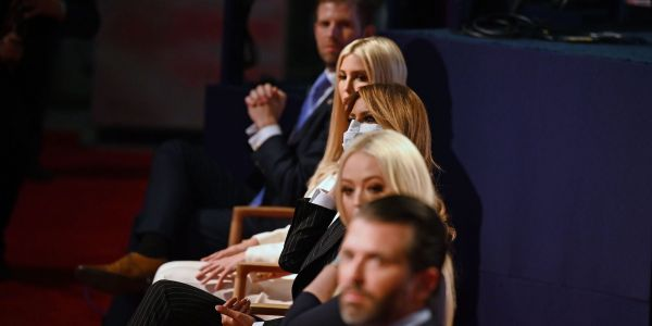 Don Jr, Ivanka, Eric, and Tiffany Trump didn't wear masks during his showdown with Joe Biden, breaking the venue's rules