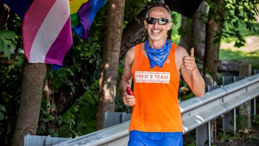 Man runs a solo marathon in honor of brother fighting for cure to rare cancer