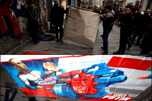 Artist reveals Putin 'superhero' paintings in Turkey - which are promptly removed