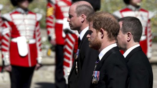 Brothers Harry and William seen chatting after Prince Philip's funeral despite strained relationship