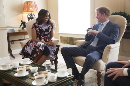 First lady Michelle Obama meets with Prince Harry over tea