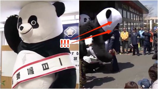 A 10 ft. Japanese pro wrestling panda headbutted officers when it became an honorary police chief at a local station