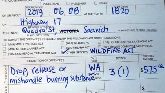 Driver receives hefty $575 fine after throwing a lit cigarette out the window