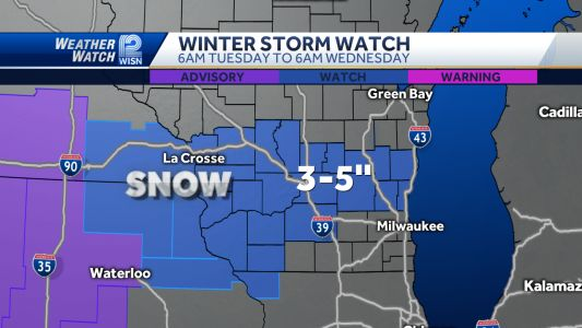 Winter Storm Watch: 3-5 inches of new snow expected Tuesdsay