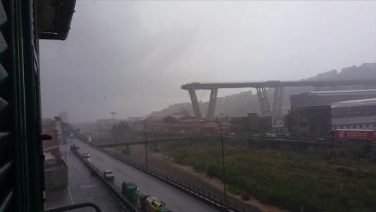 Raised highway collapses during violent storm in Italy