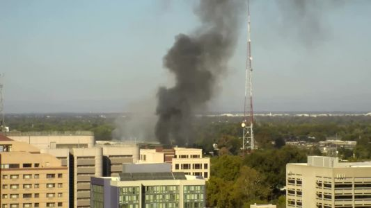 Large smoke plume coming from downtown Sacramento fire
