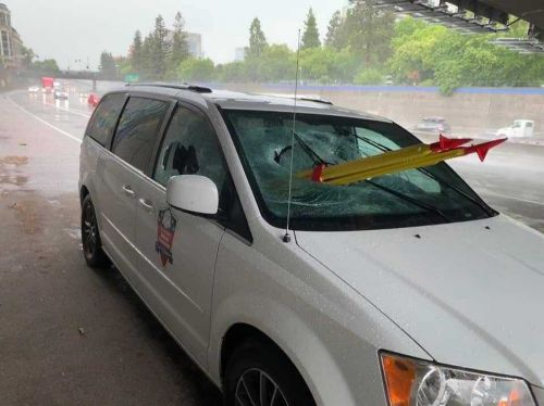 Veteran impaled after tripod thrown from overpass smashes into windshield