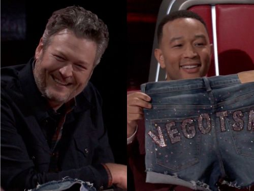 Blake Shelton gave John Legend a pair of bedazzled booty shorts on 'The Voice' for being named Sexiest Man Alive