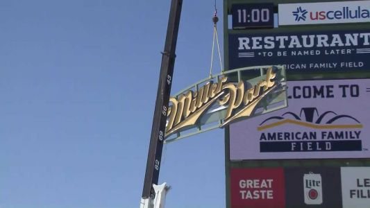 Watch: Miller Park sign comes down