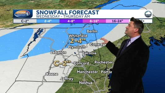 Mild day Tuesday; snow likely to accumulate in northern NH Wednesday