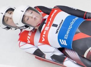 Canadians become 1st females to race World Cup doubles luge