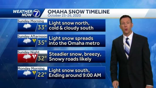 Cold, cloudy most of Sunday, snow starts this afternoon