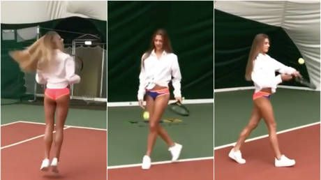 Russian Gymnast Soldatova serves up scorching tennis video in her UNDERWEAR