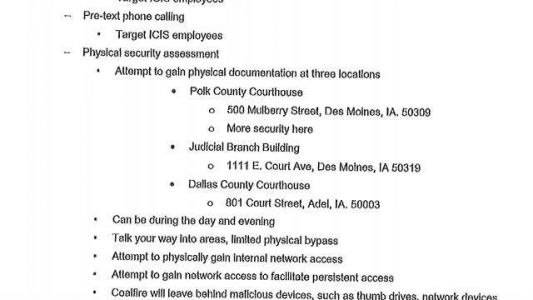 Courthouse burglary update: 'Physical attempts' were part of Coalfire agreement, but not at night