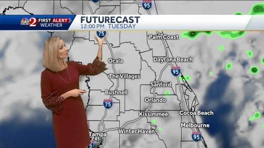 Cloudy with a few showers on Tuesday